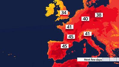 Forecast temperatures for Europe