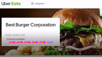 A BBC News team set up a fake takeaway restaurant on Uber Eats and started selling burgers.