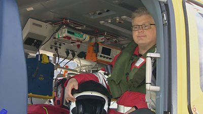 Interior of an air ambulance helicopter