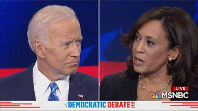 Senator Kamala Harris confronted former Vice-President Joe Biden on his past voting record on bussing.