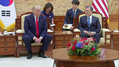 Donald Trump speaks at a press conference with Moon Jae-in