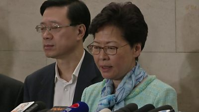 Hong Kong leader Carrie Lam speaks at a press conference