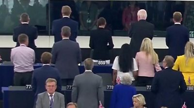 Brexit Party MEPs turn their backs in Strasbourg