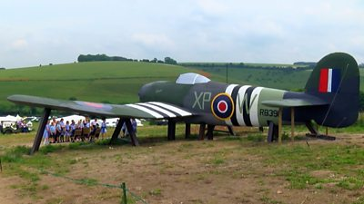 A giant Hawker Typhoon on a hill in Wiltshire