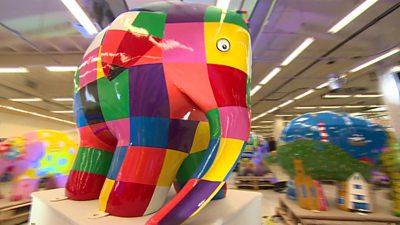 Forty Elmer the elephants form city trail