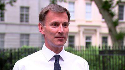 Foreign Secretary Jeremy Hunt speaks to the media