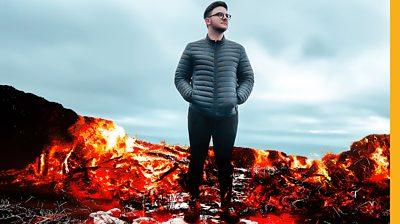 Man standing in burnt Moors