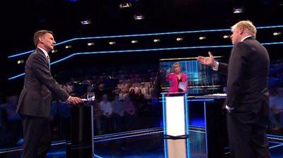 Boris Johnson and Jeremy Hunt during debate
