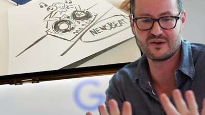 Matthew Cruikshank with one of his sketches