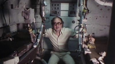 The BBC's James Burke takes a look around the command module