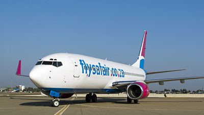 A FlySafair Boeing 737-800 on the tarmac