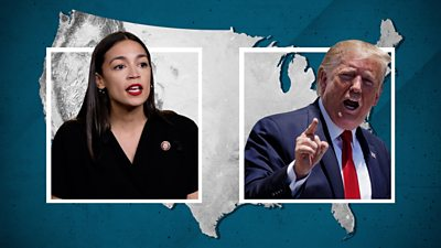 Alexandria Ocasio-Cortez and President Donald Trump