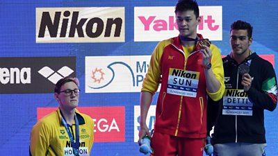 Australian swimmer Mack Horton refuses to share the podium with Chinese rival Sun Yang