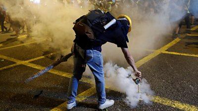 a protester in Hong Kong