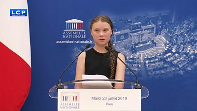 Climate activist Greta Thunberg speaking in France's parliament in Paris