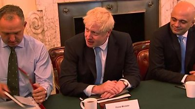 "Boris Johnson's new cabinet have met for the first time. The PM said they had ""a momentous task ahead."""