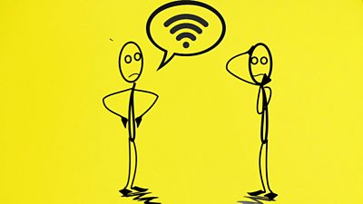 Graphic of two people talking about wi-fi