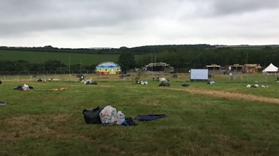 Dumped festival tents recycled into beach clean bags