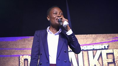 A female comedian performing in Nigeria