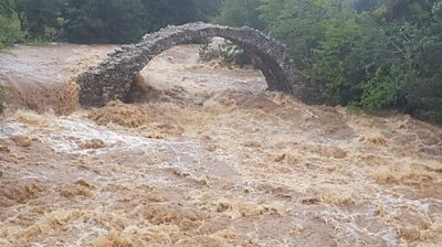 Footage posted on social media showed flooding at the 18th century packhorse bridge