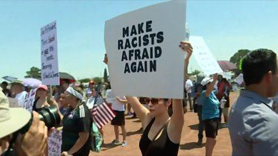 People in El Paso protest Trump's visit