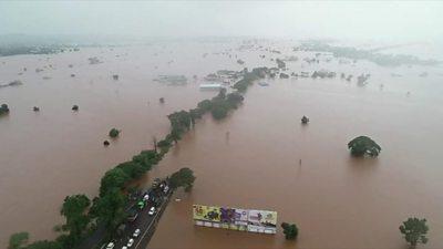 Aerial shot of flood-hit Indian states