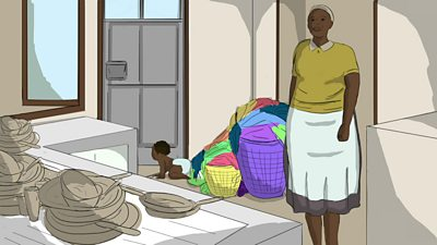 An illustration of a domestic worker