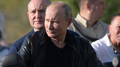 Leather clad Vladimir Putin visists bikers' festival on 10 August 2019
