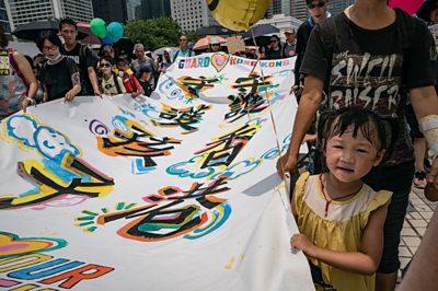 Children join Hong Kong protests