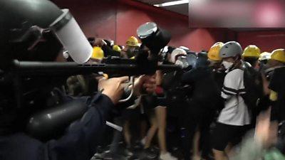 Police firing in Tai Koo MTR station