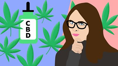 Illustration of a bottle of CBD, cannabis leaves and a woman in glasses