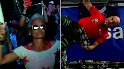 Composite image of clubber and astronaut Luca Parmitano