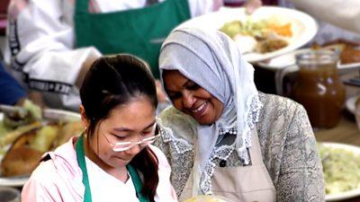 Asylum seekers cooking