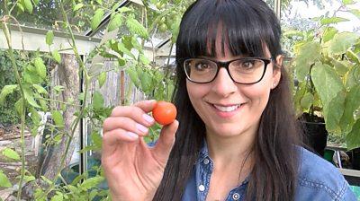 Ellen Mary holding a tomato