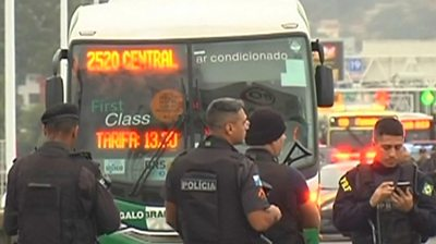 An armed man is holding a number of passengers hostage in Rio de Janeiro.