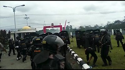 Indonesian police fired tear gas to disperse protesters in West Papua