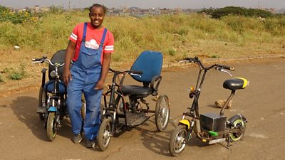 Lincoln Wamae and his e-wheelchair prototypes