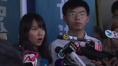 Agnes Chow and Joshua Wong