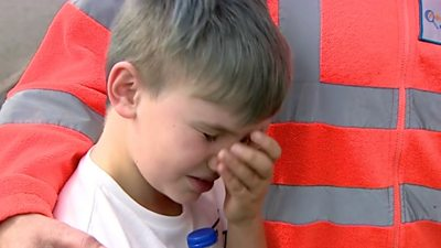 Nine-year-old Edward sheds tears of joy to be with furry Leo again after a a search by pet detectives.