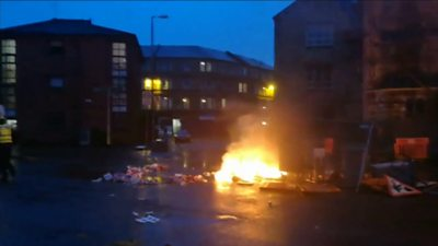 Fire in Govan following protests