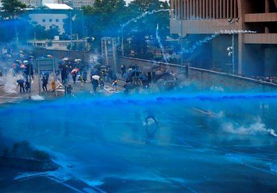 hong kong blue water cannon