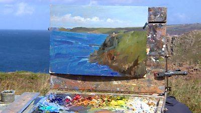 Painting of the Cornish coastline