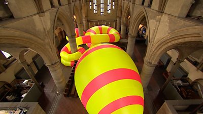 Giant inflatable sculpture in former church