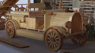 Wooden car sculpture
