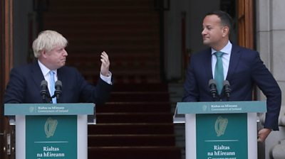 Boris Johnson and Leo Varadkar at podiums in Dublin, 9 September 2019