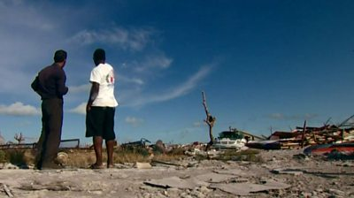 The BBC met residents of the Abaco Islands attempting to leave the Bahamas by boat or plane.