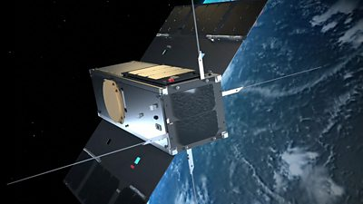 A computer graphic of a CubeSat