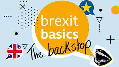 Collage with the words Brexit Basics and backstop