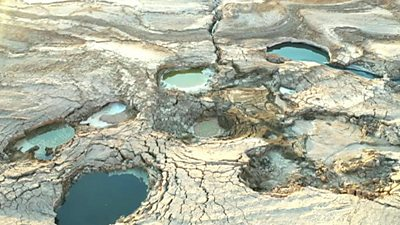 Dead Sea puddles of water