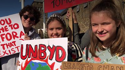 Children protesting in Cardiff